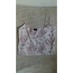 Camisa De Mujer Musculosa Floreada Blanca Kevingston T 3