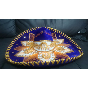 Sombrero Charro Flor Mariachi Mexicano Azul Rey Exportacion