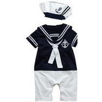 Macacão Infantil Marinheiro Com Chapéu Pronta Entrega