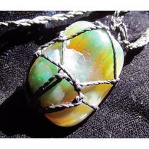 Colar Hippie De Pedra Semi Preciosa Ágata Verde