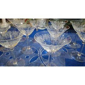 Taças Cristal Lapidado Década De 30 - Jogo Com 10 Peças