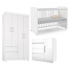 Dormitório Bebe Infantil Branco Completo 3 Moveis Gl Barato