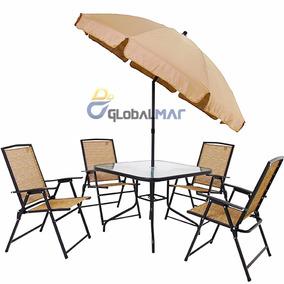 Conjunto Mesa Tampo De Vidro 4 Cadeiras Ombrelone Guarda Sol