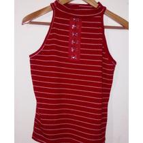 Blusa De Dama A La Moda Rayas Roja Halter Oferta Talla M/l