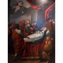 Virgen Maria Al Cielo,1757 Pintura Antigua Al Oleo Original