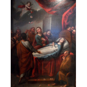 Virgen Maria, Al Cielo Pintura Al Oleo 1757 Antigua Original