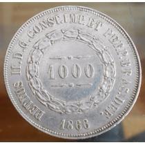 Brasil Moneda De Plata Del Año 1866 - 1.000 Reis - Pedro Ii