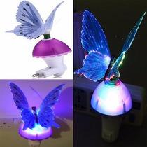 Luz De Noche Rgb Led Mariposa Fibra Optica Lampara Sensor