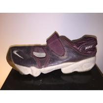 Zapatillas Nike Rift Abrojo Cuero Bordó Con Relieve Nro 38