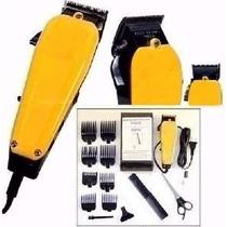 Maquina Amarela Corta Cabelo Barba Profissional 8 Pentes 110