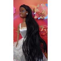 Boneca Negra Linda Cabelos Longos
