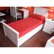 Oferta Juego Dormitorio Cama Laqueada + Carro + Mesa De Luz