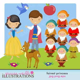 Kit Imprimible Princesa Blanca Nieves 4 Imagenes Clipart