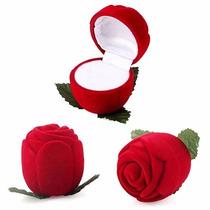 Caixa Caixinha De Veludo Para Anel Flor Rosa Vermelha