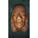 Retrato Indigena Madera Maciza Tallado A Mano