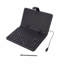 Capinha Teclado Tablet Infantil 9 Pol Couro Usb Caneta Touch
