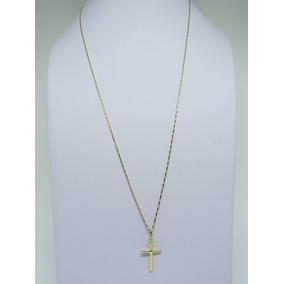 Cordão Corrente Cartier 70cm + Pingente Crucifixo Ouro 18k