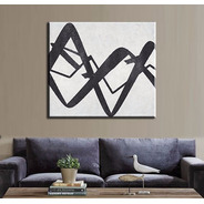 Quadro Pintura Tela Abstrato Preto Branco 80x90 Cm