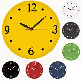 Relógio De Parede Redondo Quartz Silencioso Diversas Cores