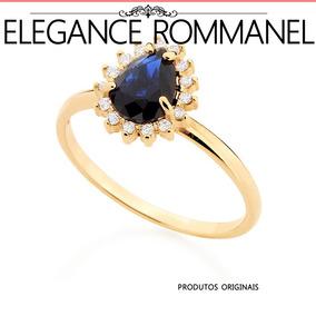 Anel Rommanel Cristal Azul 15 Zirconias Formatura 511924