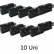 Kit 10 Placa De Som Usb 7.1 Canais Adaptador Pronta Entrega