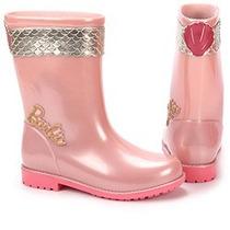 Bota Galocha Barbie Rosa Perolado Infantil Frete Grátis