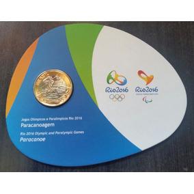 Moeda Comemorativa Paracanoagem No Blister Rio 2016.