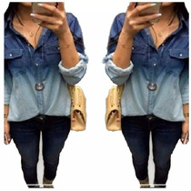 Camisete Blusa Jeans Feminino Degrade Linda Pronta Entrega
