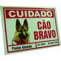 Placa De Advertência Cão Pastor Alemão - Cuidado Cão Bravo