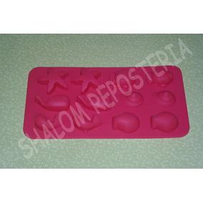 *molde Silicon 12 Figuras De Mar Pez Estrella Concha Fondant