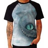 Camiseta Estampada Gato Alice No Pais Das Maravilhas Raglan