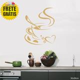 Adesivo Decorativo Geladeira Cozinha Papel Parede Café Ouro
