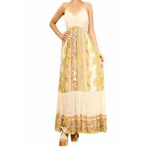 Vestido Largo Con Broderie Estampado Mujer, Brishka V-0046