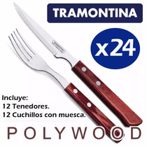 Set Juego 24 Cubiertos Tramontina Polywood Color Cerezo