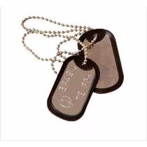 Placa Militar Dog Tag Gravação Exército + Corrente Bolinha