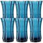 Conjunto De Copos Safira - 6 Peças - Azul Em Vidro - 13x8 Cm