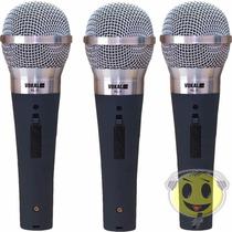 Kit 3 Microfones Vokal Dinâmico Kl5 Profissional Sm58 + Cabo