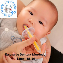 Escova Dental Massageador Gengiva Mordedor Silicone Bebê 12m