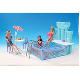 Set Gloria Barbie Piscina Con Pileta Water Fun