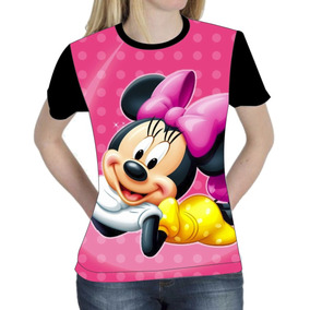 Camiseta Blusa Mickey Minie Femenina Baby Look Vários Modelo