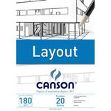 Bloco Papel Desenho Canson Layout Super Liso 180gr A4 Branco