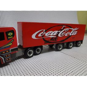 Super Caravana Coca Cola Scania Caminhão De Puxar De Madeira