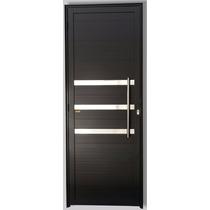 Porta Lambril Social 2,10 X 1,00 Com Friso Alumínio Preto