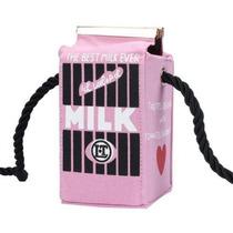 Bolsa Caixa De Leite Fun Bag Milk Rosa Preta Pronta Entrega