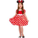 Minnie Fantasia Infantil Menina Luxo Vestido Vermelha P M G