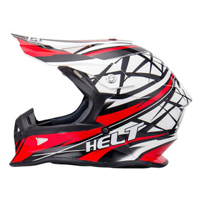 Capacete Helt Cross Mx Racing Vermelho/preto Tam 60