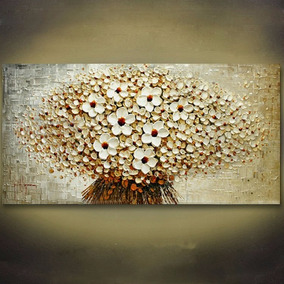 Quadro Pintura Tela Abstrato Moderno Branco 120x60cm