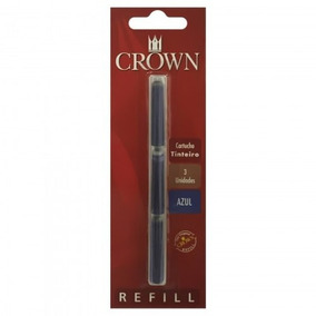Carga Refil Crown Caneta Tinteira Ca32005a Azul - Original