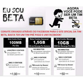 Convite Tim_beta /de 10 E 20 Gb Net / Qualquer Ddd /tim_beta