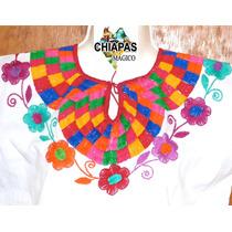 Blusa De Chiapas Bordada A Mano / Manta Blanca / Talla Chica